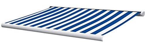 Jet-line Vollkassettenmarkise Sunshade 5 x 3 m in blau/Weiss Markise mit Motor Fernbedienung Nothandkurbel und Wandhalter in Weiss Top Qualität Garten Terrasse Balkon