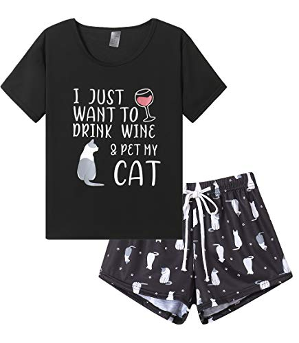 YIJIU Pajamas Sets for Women Soft Lovely Cat Red Wine Glass Print Short Sleeve Pjs, Winecat, X-Large