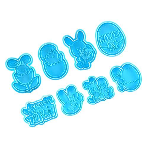 Hemoton 2 juegos de sellos de galletas de Pascua con forma de conejo, galleta, huevo, conejo, pasteles, galletas, pan, fondant, moldes de primavera para hornear cocina (azul)
