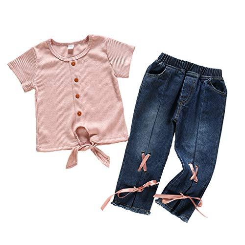 HSKB effen T-shirt met korte mouwen en vlinderdas voor kinderen met tweedelig jepak