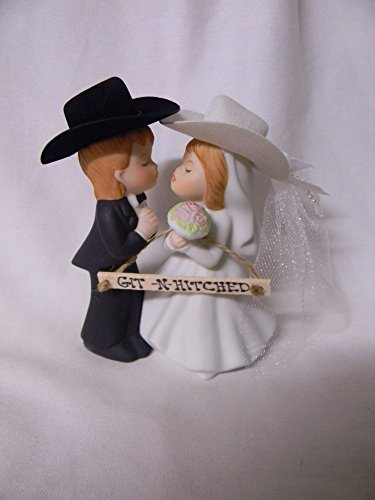 Wedding Western reception party Git N Hitched Sign Redneck Kissing cake topper