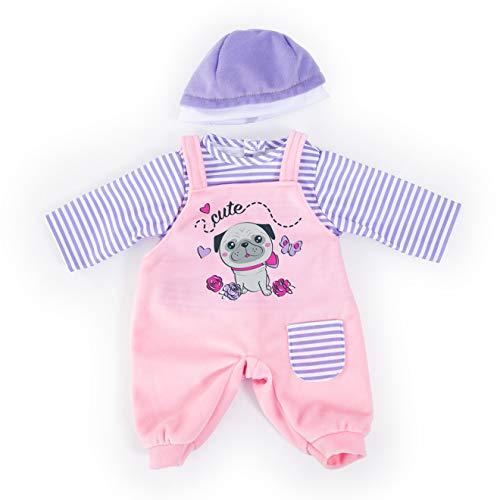 Bayer Design 83883AA Puppenkleidung für 33-38cm Puppen, Latzhose, Oberteil und Mütze, Set, Outfit mit süßem Hundemotiv, rosa, lila
