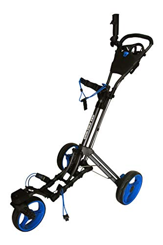 Qwik-Fold 360 Swivel 3 Wheel Push Pull Golf CART - 360 Rotating Front Wheel - ONE Second to Open & Close! (Charcoal/Blue)