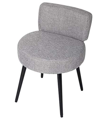 BirdRock Home Grey Linen Chair with Back – Soft Compact Round Padded Seat - Living Room, Bedroom and Kids Room Chair – Ottoman Foot Stool - Black Metal Legs Upholstered Decorative Furniture Rest – Van