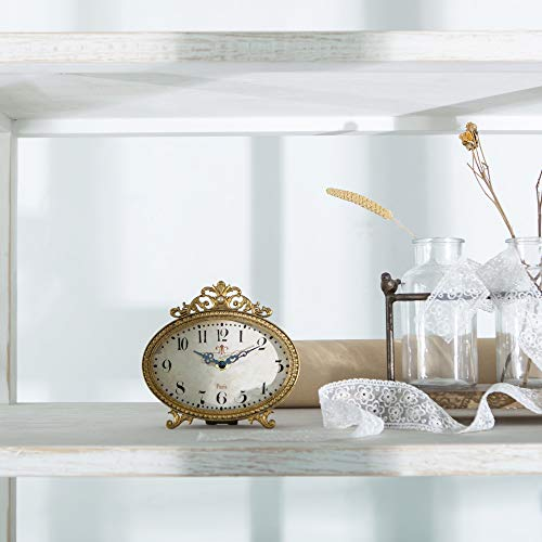 Nikky Home French Gold Color Rococo Style Table Clock