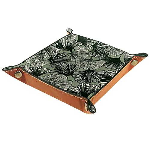 Faltbare Würfelspiele Tablett Leder Quadratische Schmuckschalen und Uhr, Schlüssel, Münze, Süßigkeiten Aufbewahrungsbox Gingko Blattmuster