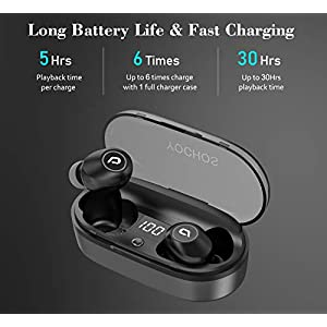 Wireless Earbuds, YOCHOS in-Ear Bluetooth Headphones with Charging Case, Mini Sweatproof Sports Earphones w/Mic 30 Hrs Playtime for iPhone Android Windows Cellphones