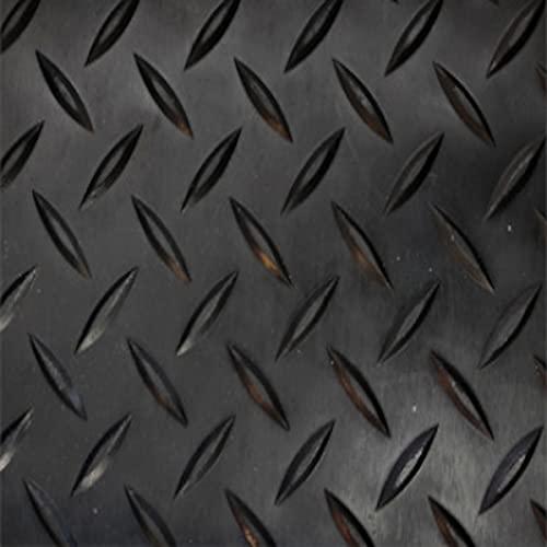 Revestimiento de Caucho Antideslizante  Suelo de Goma PVC Negro 1mm Diseño Estrias (140_x_200 CM)