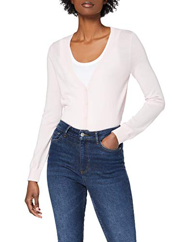 Amazon-Marke: MERAKI Merino Strickjacke Damen mit V-Ausschnitt, Rosa (Pale Pink), 34, Label: XS