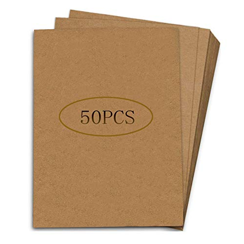 50 Hojas de Papel Kraft A4, Cartón Kraft para Imprimir, Hojas de Cartón Natural, Cartón Natural de Calidad, para Etiquetas Retro, Impresión, Manualidades(Marrón Oscuro)