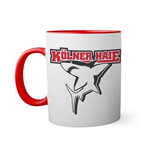 Ice Hockey Team Kolner Haie Eishockey Tasse innen und am Henkel rot außen weiß Mug 330ml