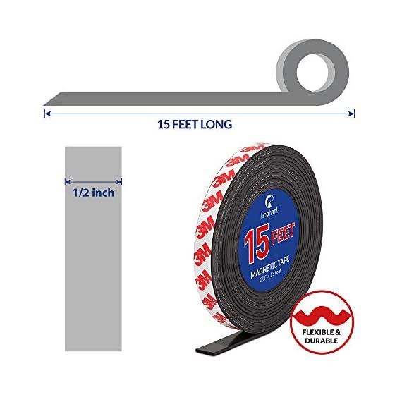 Magnetic tape, 15 feet magnet tape roll (1/2'' wide x 15 ft long), with 3m strong adhesive backing. Perfect for diy, art projects, whiteboards & fridge organization 3 high quality magnet tape: objects weighing up to 1. 5 oz (~50 gram) can be held easily with a short strip. Add several or longer strips for heavier things. 3m strong adhesive backing: premium 3m adhesives are made for sticking quickly and firmly while last for a long time. Ideal for clean, smooth and uniform surfaces. 15 feet magnet tape: big value packed into a strong zip bag for easy storage. Use short strips or for heavier items choose more strips to hold anything in place!