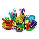 Plastic Dinnerware set for 8 | Kids dishes set include kids cups, kids plates, kids bowls, Flatware...