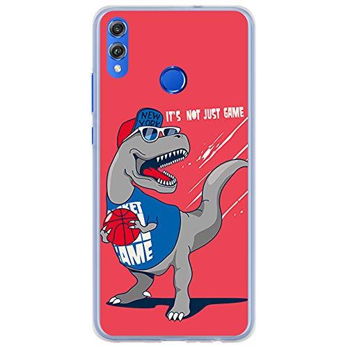 BJJ SHOP Funda Transparente para [ Huawei Honor 8X Honor View 10 Lite ], Carcasa de Silicona Flexible TPU, diseño: Dinosaurio Jugando Baloncesto