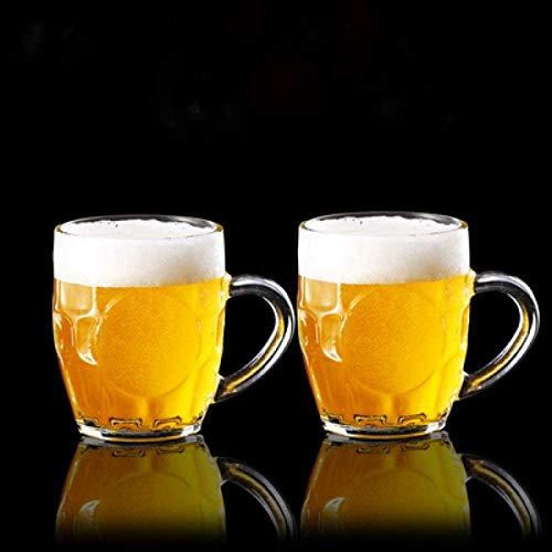 WQF Vasos de Cerveza Jarras de Cerveza Cerveza de Vidrio sin Plomo, Mango de Jugo de té, Barra de Cerveza de Corbata, Vino, Leche de Cocina 2 * 300 ml, Jarra de Cerveza 2 * 300 ml