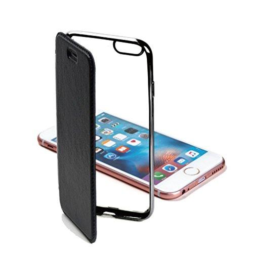 Carrier-City iPhone SE(第2世代) / 8 / 7 ケース 手帳型 クリアケース サイドカラー (iPhone SE(第2世代)/8/7, ブラック)