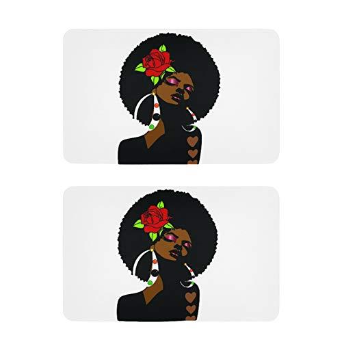 Imanes para nevera con diseño de mujer negra, 2 unidades