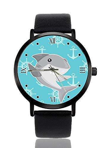 Shark Nautical Fashion Reloj de Pulsera para Mujer, Cuarzo, Acero Inoxidable, Correa de Piel, Reloj Casual