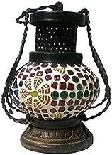 ZES Wooden & Iron Hand Carved Colored Chimney Lantern Design