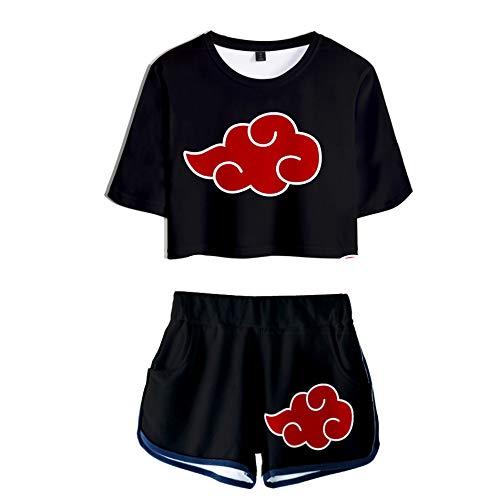 2 PieceUchiha Outfits for Women Short Sleeve Crop Top and Short Pants Sets (1, Medium)