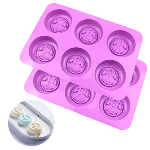 Guanici Moldes de Jabón de Silicona Diseño de abeja Molde de muffin Pastelería de cocina para jabones caseros, cubitos de hielo, cera de abeja, barra de loción, gelatina y postre 2 Piezas (Púrpura)