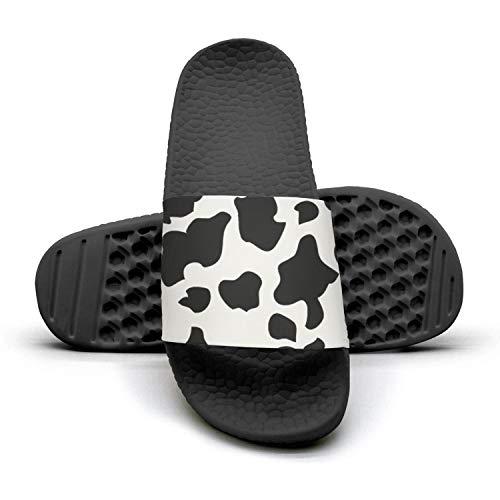 HURSUEE Women's Slides Shoes Cow Print Cattle Skin Slippers Fashion Slip on