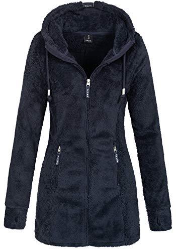Sublevel Damen Teddyfleece-Jacke Mantel LSL-357 mit Kapuze Indigo Blue M