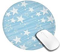 コンピューター マウスパッド 円柄 丸型 青 星柄 鉛筆絵 背景 スクラップブック作り ゲーミングマウスパッド ゴム底 光学マウス対応 滑り止め 耐久性が良い おしゃれ かわいい 防水