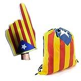 FUN FAN LINE – Set Especial! Catalunya Independent/Cataluña Independiente (Bolsa Mochila y Mano Gigante de Espuma Estelada)