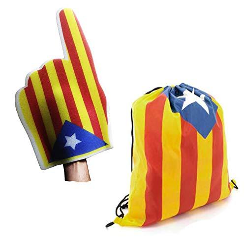 FUN FAN LINE® – Set Especial! Catalunya Independent/Cataluña Independiente (Bolsa Mochila y Mano Gigante de Espuma Estelada)
