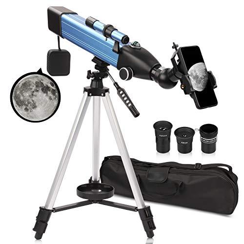 QUNSE Teleskop Astronomie 60/500 20x-167x Fernrohr Teleskop für Kinder Einsteiger Amateur-Astronomen mit Aluminium Stativ Smartphone Adapter Suchfernrohr und Kompass (A)