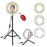 Selfie Ring Light with Tripod Stand and Cell Phone Holder for Live Stream/Tiktok, 10.2' Dimmable LED Camera Ringlight for Makeup/YouTube, Compatible with iPhone & Android