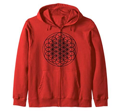 Sacred Geometry Zip Hoodie - Tapestry Hoodie Flower of Life Sudadera con Capucha