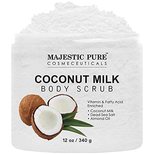 Majestic Pure Coconut Milk Body Scrub, Anti Cellulite & Exfoliator, Natural Skin Care Formula Helps with Stretch Marks, Eczema, Acne and Varicose Veins, 12 Oz