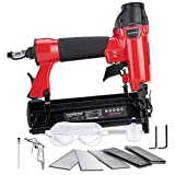POWERSMART Brad Nailer, Pneumatic 2-in-1 Brad Nailer 18-Gauge Compatible 5/8-IN to 2-IN, 100-Fastener Air-powered Nail Gun, 300pcs Brad Nails, 200pcs crown staples Included, PS6130