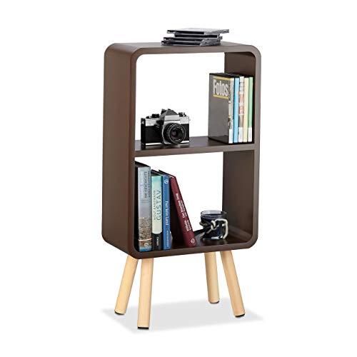 Relaxdays Standregal mit 2 Fächern, schmales MDF Bücherregal ohne Schubladen, Wohnzimmer Regal mit Holzbeinen, braun