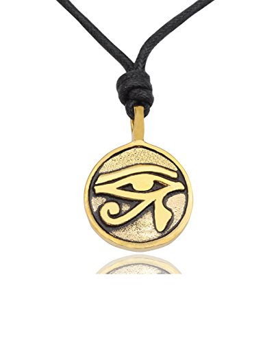 Vietguild Egyptian Eye of Ra Horus Gold Brass Charm Necklace Pendant Jewelry