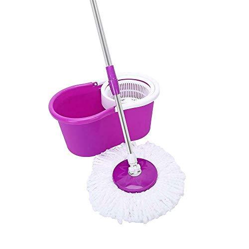 KOL New Easy Magic Floor Mop 360° Bucket Rotating Head Easy Magic 2X Head Microfiber Spinning