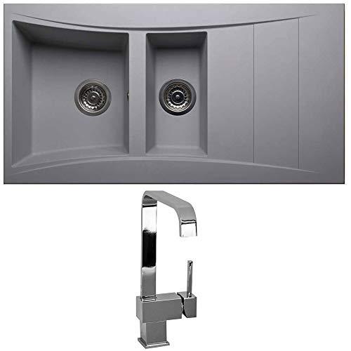 Astini Xeron 1.5 Bowl Grey SMC Synthetic Reversible Kitchen Sink, Waste & Tap