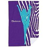 ChalkTalkSPORTS Personalized Cheerleading Premium Blanket | Girl with Zebra Stripes | Purple