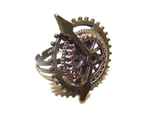 Unbekannt Steampunk Ring mit Zahnrädern, Uhrwerk, Flügeln (Zeiger)
