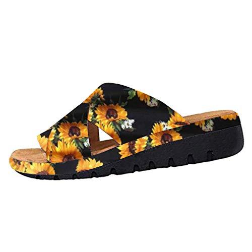 ZARLLE Chanclas Mujer Sandalias de Mujer Zapatilla de Verano Interior Al Aire Libre Bohemia Girasol Flip Flops Sandalias Verano Zapatillas Zapatos Playa Piscina Plataforma Gruesa
