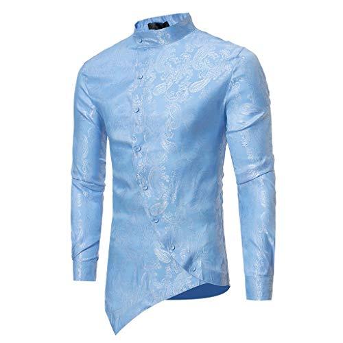 ESAILQ Männer Frühling Irraguler Slim Fit Langarm Printed Muscle T-Shirt Top Bluse(X-Large,Blau)