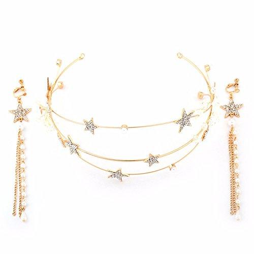 MultiKing Bride Headdress Golden bruidsjurk ster haar hoepel kroon haar ornamenten Koreaanse prachtige handgemaakte kristal bruiloft sieraden