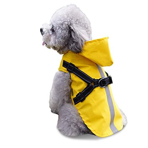 Chubasquero para perro con arnés, poncho de lluvia para mascotas pequeño con capucha – Impermeable reflectante para perros pequeños, medianos y pequeños, talla L