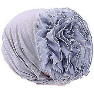 quanjucheer Women Islamic Muslim Hijab Turban Hat Hair Loss Cover Scarf Cotton Bandan size 56cm (Grey)