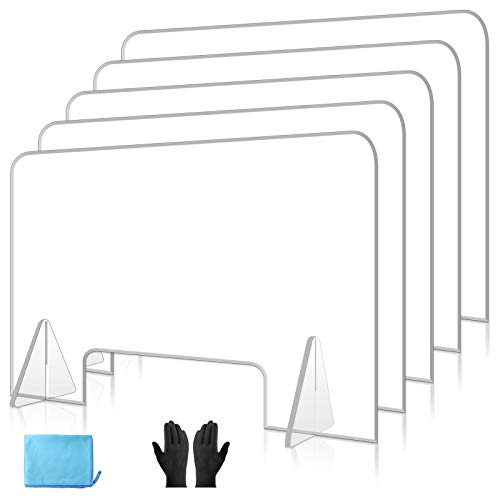 ULTRAWESOME Sneeze Guard Acrylic Protective Freestanding Shield Guard, Portable Plexiglass Barrier, 92% High Transparency & High Hardness Acrylic Industrial Material… (32 x 24'' (Pack of 5))