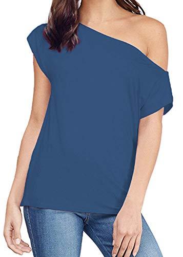 Sarin Mathews Women's Casual Off Shoulder Tops Short Sleeve T Shirts Lose Sexy Tank Tops Bl…