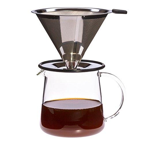 Trendglas Jena Kaffeekännchen POUR OVER FOR TWO mit Edelstahlfilter, 500 ml
