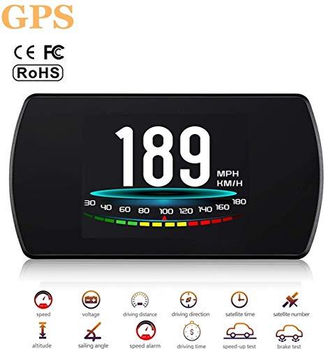 Head-Up Display, GPS Snelheidsmeter, Universal HUD Head-Up Display OBD II, Acceleration Test, Remtest, Hoog Toerental Waarschuwing, Geschikt Voor Alle Voertuigen